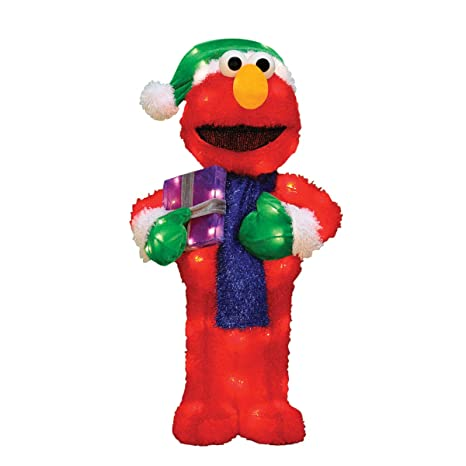 productworks 28 inch pre lit sesame street elmo christmas yard decoration 70 lights - Sesame Street Outdoor Christmas Decorations