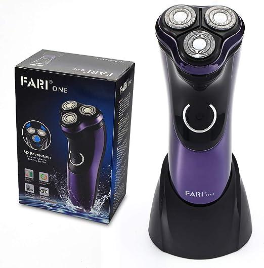 Afeitadora eléctrica FARI, afeitadora eléctrica recargable húmeda y seca para hombres con carga USB, púrpura: Amazon.es: Salud y cuidado personal