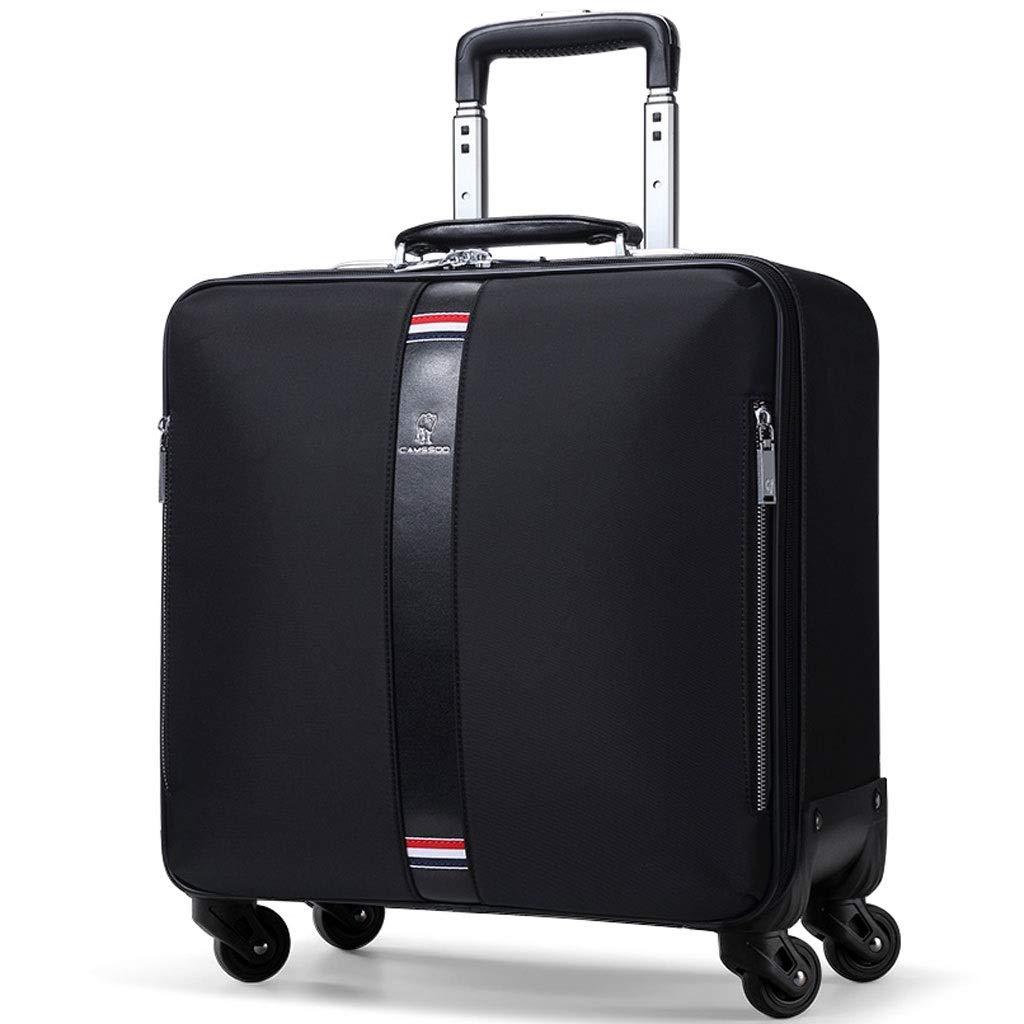FRF トロリーケース- 人および女性のための普遍的な車輪オックスフォードの布のスーツケースのトロリー箱、ビジネス小型搭乗箱16インチ (色 : ブラック, サイズ さいず : 16in) 16in ブラック B07QVBDD6J