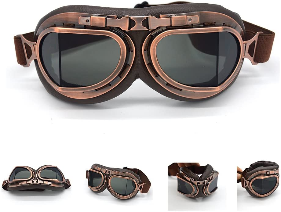 1920s Glasses & Sunglasses History evomosa Motorcycle Goggles Vintage Pilot Style Cruiser Scooter Goggle Outdoor Sand Goggles Bike Racer Cruiser Touring Eyewear for Half Helmet $15.88 AT vintagedancer.com