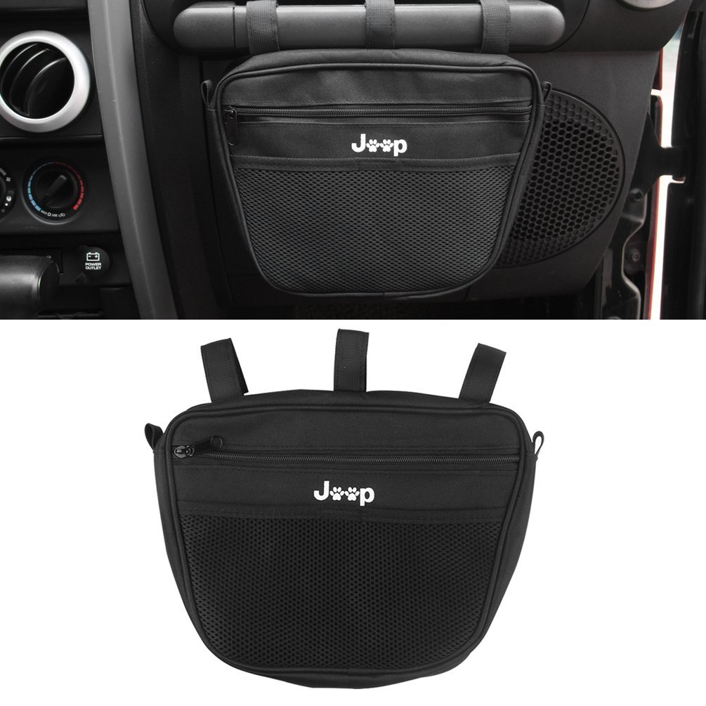 1PC Passenger Grab Handles Accessory Storage Pouch Organizer Bag For 1965-2017 Jeep Wrangler JK TJ YJ CJ MINGLI Black Mesh UV Protected Polyester Dash Tools Bags