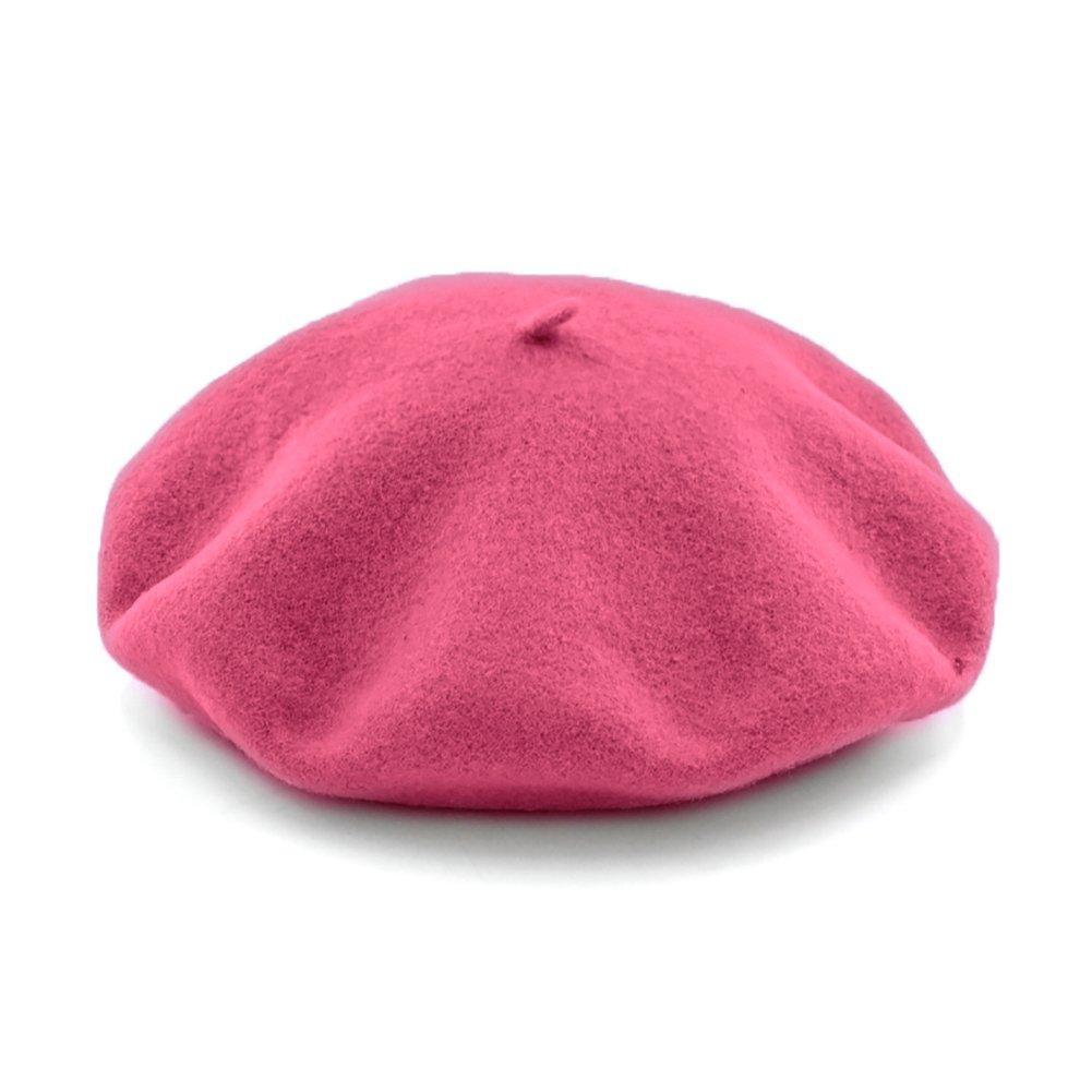 JOOWEN Women's Vintage Classic French artist Solid 100% Wool Beret Hat Beanie Cap (Rose)