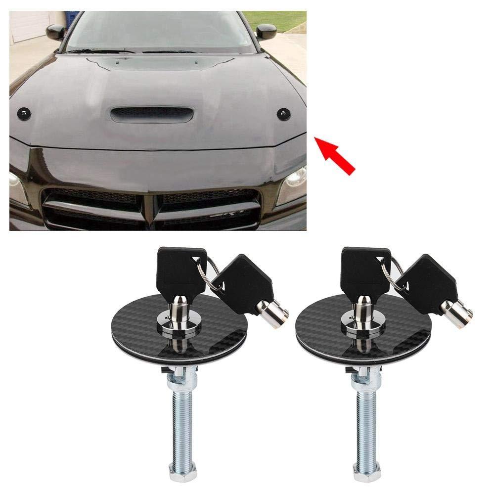 Qiilu Cerraduras para Motor Pasador de Bloqueo del Cap/ó del Coche Juego de 16 Piezas Universal Fibea de Carbon