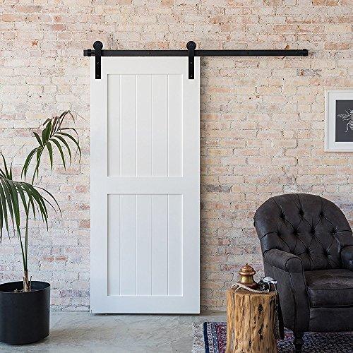 Door Interior Sliding - WinSoon 5/6/8/10/12/13/15/16FT Black Straight Design Sliding Roller Barn Single Wood Door Hardware Closet Track Kit Set (5FT Single Door Kit)