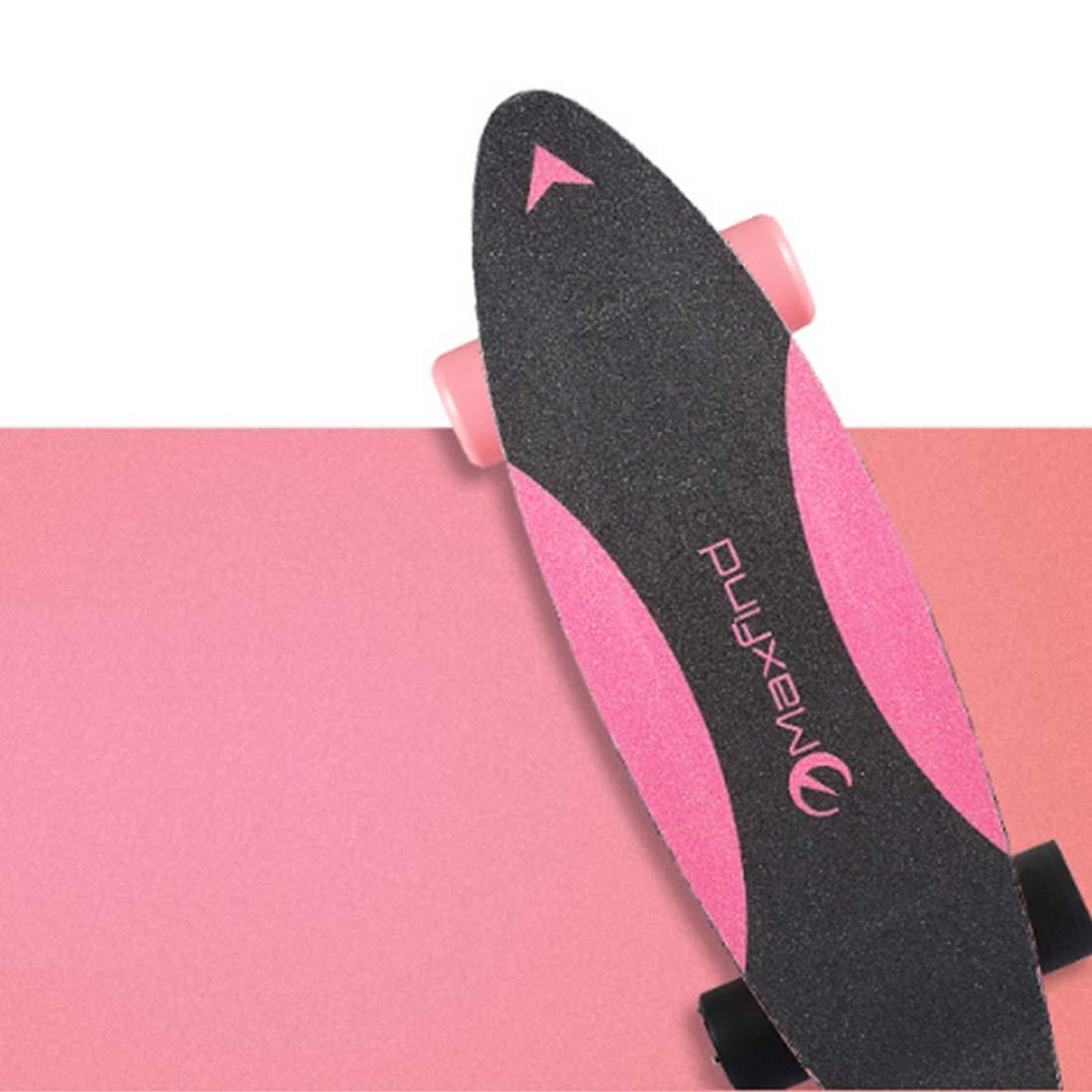 最大2スケートボード電気、4輪リモートコントロールロングボードIP65防水 (Color : ピンク)
