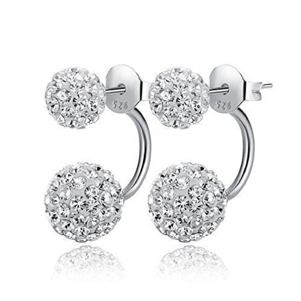 Foreverstore 925 Sterling Silver Earring Double Rhinestone Balls Stud Earring for Lover 12mm Fashion Jewelry 106