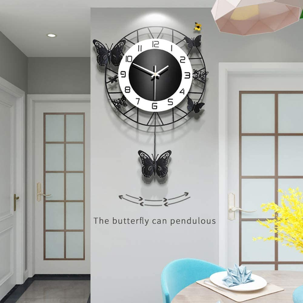 ANMIKI 14.9 Inch Modern Wall Clocks for Living Room Decor,Metal Unique Butterfly Clock Black,Non-Ticking Silent Office Contemporary Clock with Arabic Numerals for Bedroom Kitchen Home Decoration