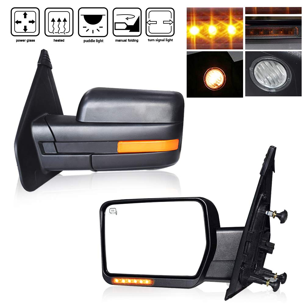 4XBEAM DOT Approved Pair Towing Mirror Power Heated Side View Mirror w/Turn Signal And Puddle Lights Electric Adjusting Towing Mirror Fit for 2007 2008 2009 2010 2011 2012 2013 2014 Ford F150