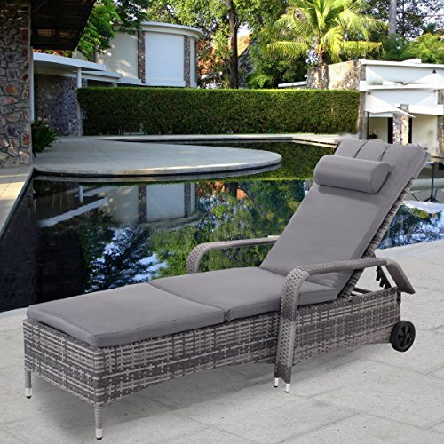 Tangkula Wicker Chaise Lounge Chair Outdoor Patio Porch Recliner Adjustable Sun Chair with (Adjustable Double Chaise Lounge)