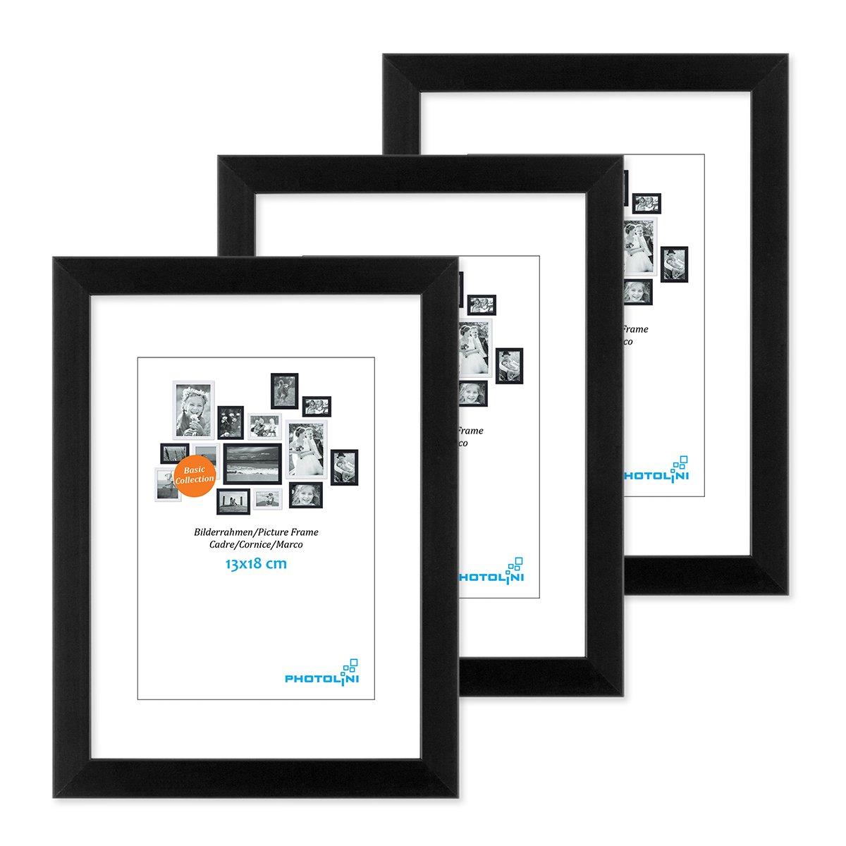 PHOTOLINI 3er Set Bilderrahmen 13x18 cm Modern Schwarz aus MDF mit ...