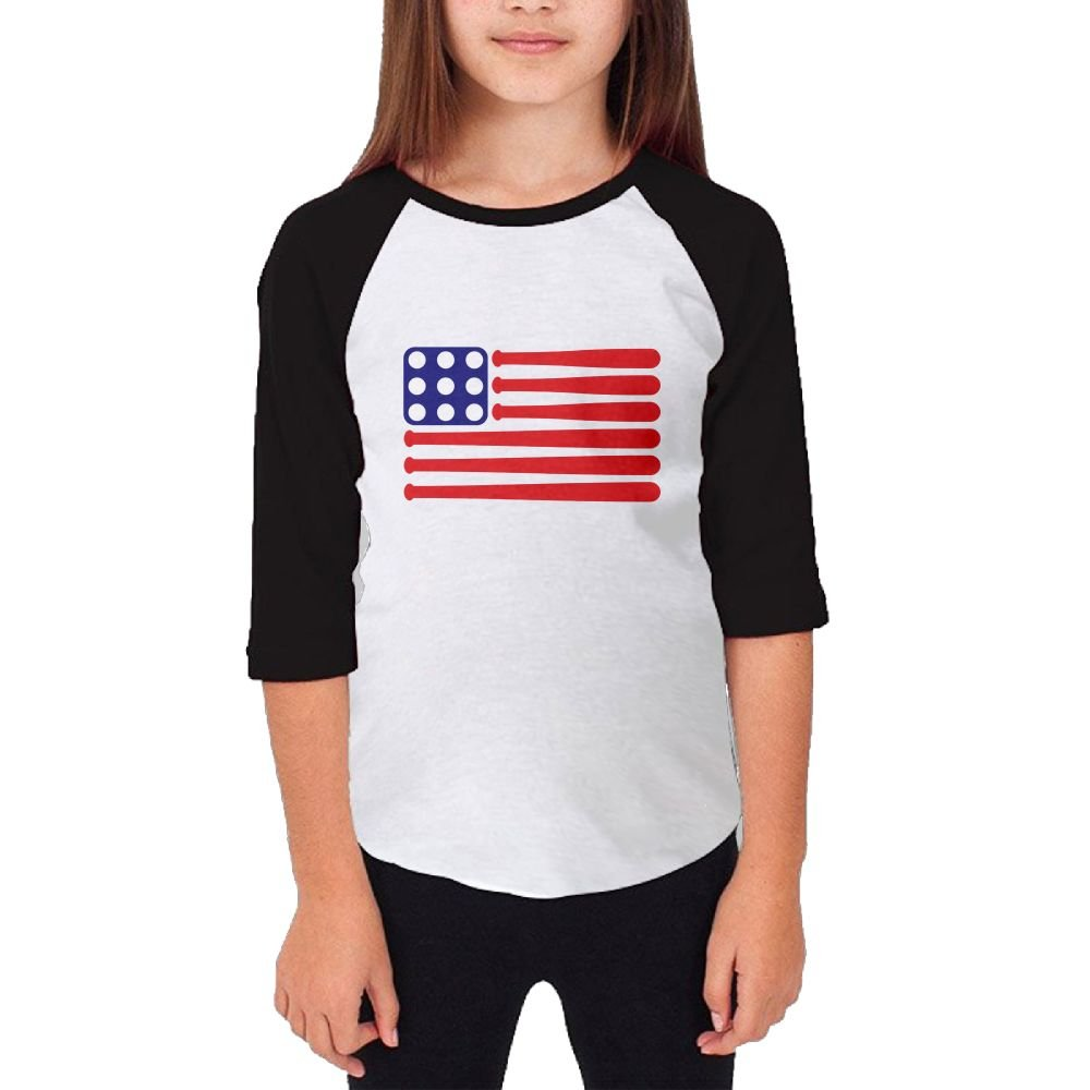 Jidfnjg Baseball America Flag RD Kids 3//4 Sleeves Raglan T Shirts Child Youth Slim Fit Sports Uniforms
