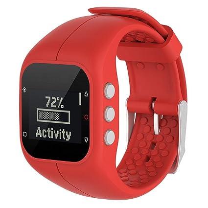 Correa de Kobwa, de silicona, de estilo deportivo, para smartwatch Polar A300, como repuesto, color rojo