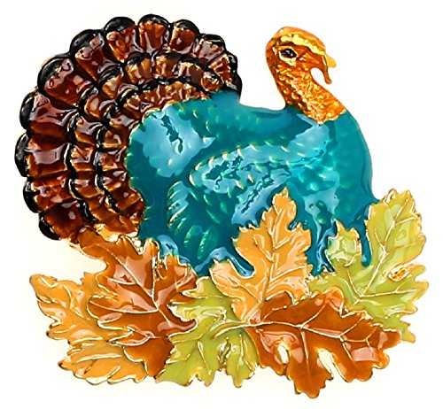 Lova Jewelry Retro Turkey Foliage Thanksgiving Fall Enameled Metal (Fall Brooch Pin)