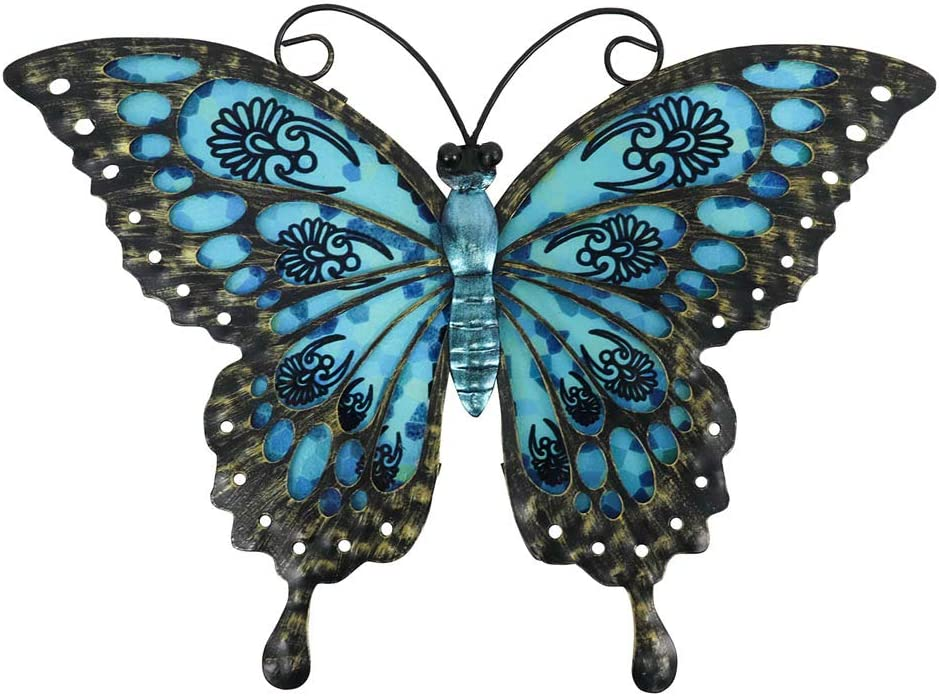 Liffy Metal Butterfly Wall Decor Outdoor Fence Art Hanging Glass Decorations for Garden, Patio or Bedroom