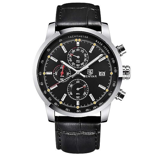 e6cafc00a0287 BENYAR Mode Hommes Quartz chronographe imperméable à l'eau Montres  d'affaires Casual Sport