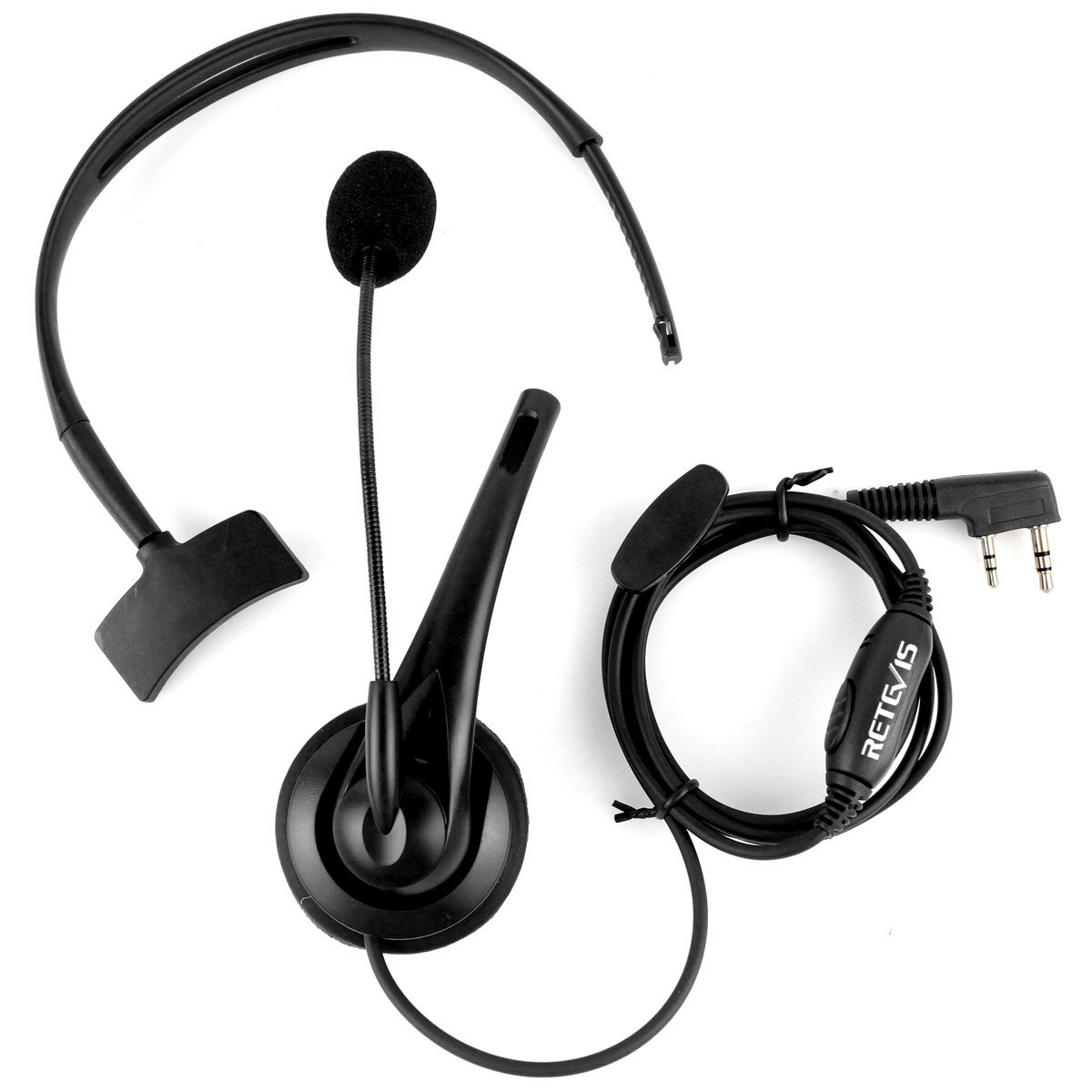Retevis Walkie Talkie Earpiece Headset with Mic Noise Cancelling Headphone Overhead Headset for Kenwood H-777 RT21 RT22 RT27 H-777S Baofeng UV-5R BF-888s 2 Way Radio (1 Pack) by Retevis (Image #7)