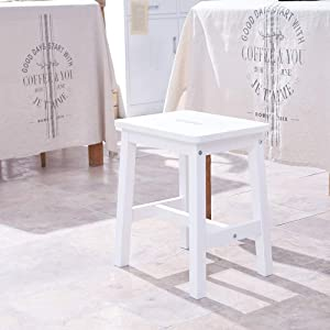 HOUCHICS Wooden Solid Stool Counter Height Chairs,Modern White Barstool for Indoor Furniture Kitchen Dining Pub and Bistro(17
