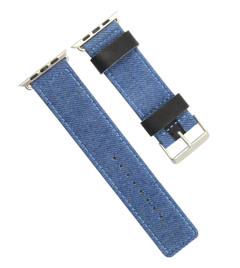 High-end Comfortable Woven Canvas Watch Band Strap for Apple Watch 38mm Series 1/2 Sport Edition Blue