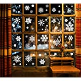166pcs Winter Christmas Static White Snowflake Decoration Decal Window Clings