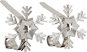 Haute Decor MantleClip Stocking Holders with Removable ZINC Alloy Holiday Icons (2-Pack Snowflake, Silver)