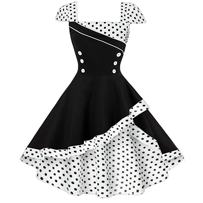 987e46748f7fe Image Unavailable. Image not available for. Color: LaceLady Green BoatNeck  Vintage Sleeveless Tea Dress with Belt White Polka Dot Pleated Swing ...