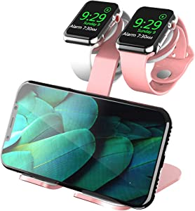 AOJUE Dual Stand for iWatch Charging, Aluminum Nightstand Charging Stand Docking Station Holder Compatible for iWatch Series 6 SE 5 4 3 2 1 (44 42 40 38mm) Phone XR X 8 8plus 7 (Pink)