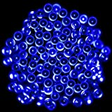 PMS® 100 LEDs 17M Luce Della Stringa Solare Blu Impermeabile Decorazioni Natalizie, Striscia LED ad energia solare.
