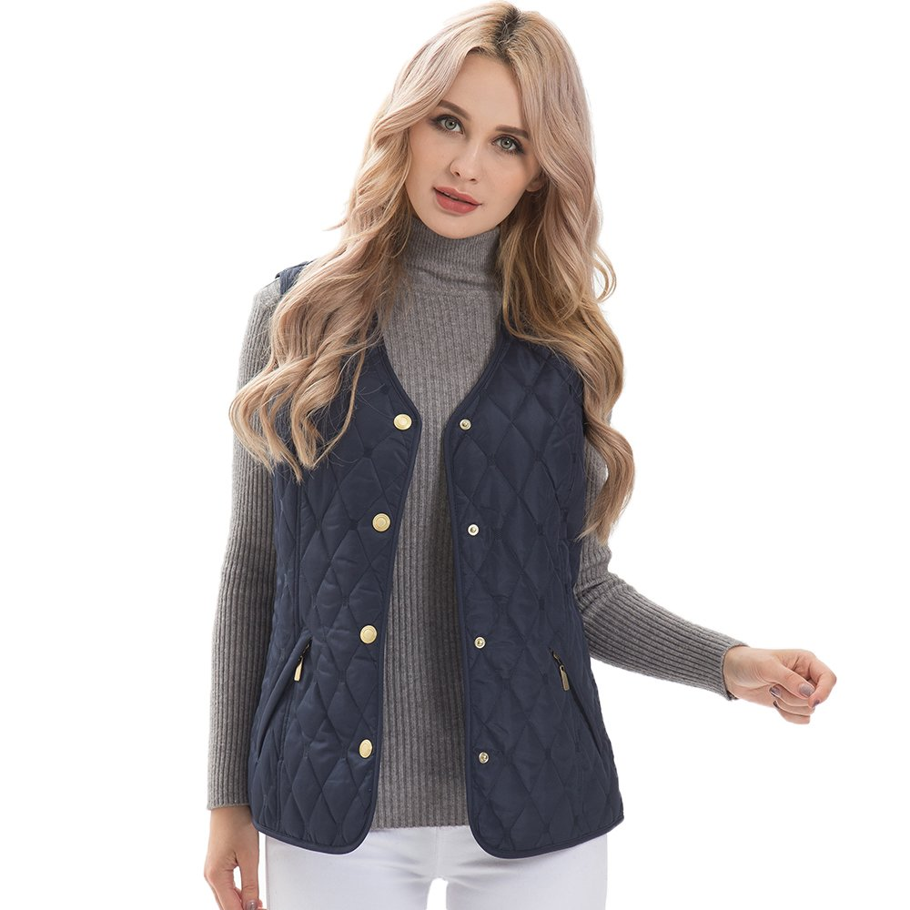 MSVASSA Womens Quilted Padded Gilet Ladies Body Warmer Plus Size Casual Classic Vest Jacket 12-28