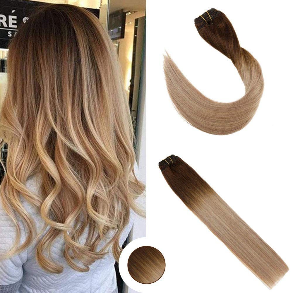 Ugeat 14inch Clip in Hair Extensions Human Hair Medium Brown #4 Fading to  Ash Blonde