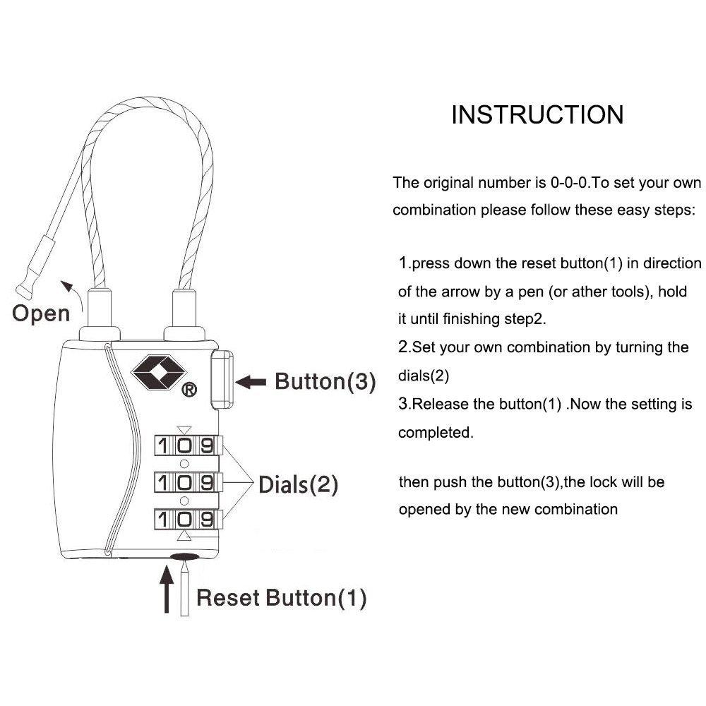 black /à 3 chiffres Cadenas /à combinaison c/âble de s/écurit/é /… Donjon Certifi/é TSA bagages serrures