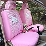 Hello Kitty Car Seat Covers Set Front and Rear Seat Covers 10pcs (Pink)