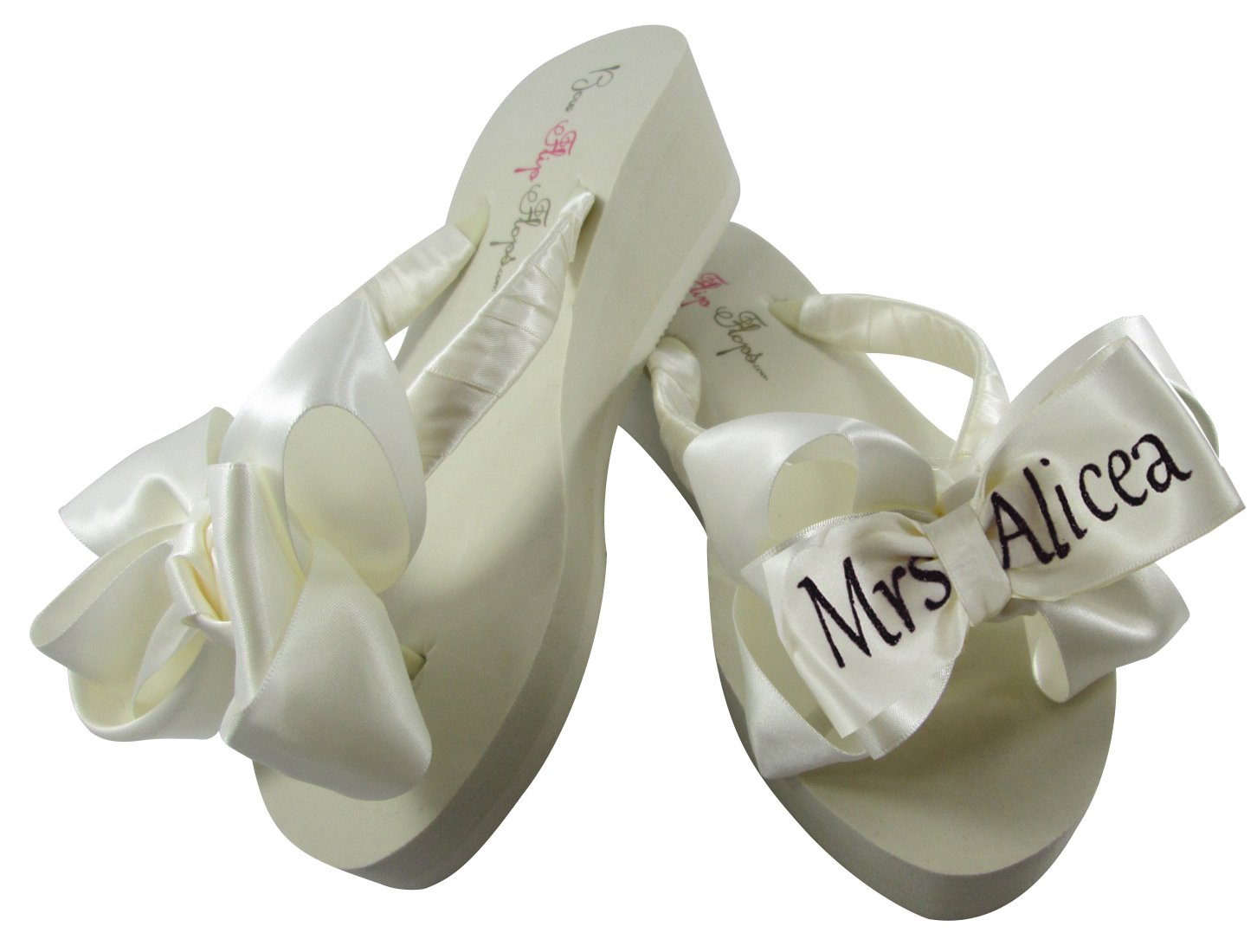 bd4c91a598f216 Amazon.com  Ivory Wedge Bridal Flip Flops with Mrs Bride Name on the Satin  Bows  Handmade