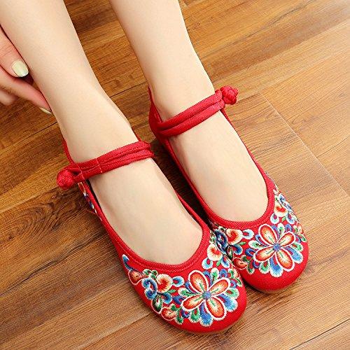 esembroidered zapatos, tendón suela, zapatos de gamuza de estilo étnico, mujeres, moda, cómodo, Casual en el aumento rojo