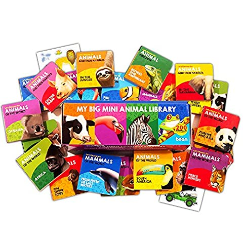 Animal Board Book Super Set For Toddlers Babies -- 20 Mini Board Books (Boxed Set with Stickers)