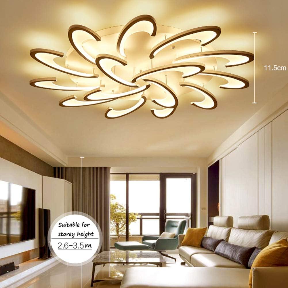 QLIGHA Lampada da soffitto postmoderna Illuminazione LED Soggiorno Camera da Letto Cucina Acrilico luci con Telecomando,Dimming,3heads/_54w