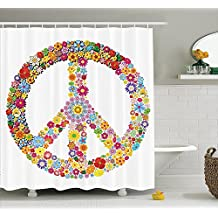 Floral Shower Curtain Sets, Floral Peace Sign Summer Spring Blooms Love Happiness Shower Curtain By KingRong
