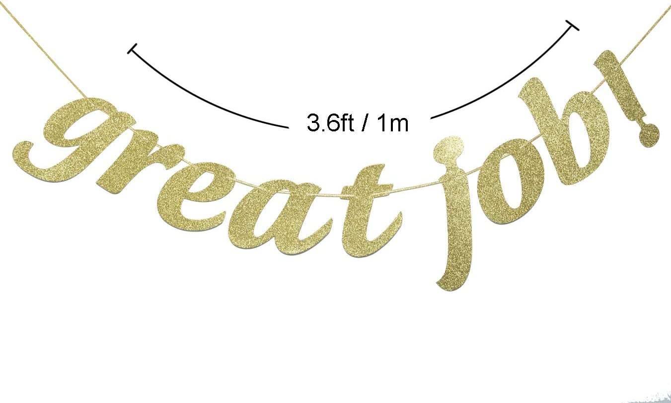 Great Job Gold Glitter Banner Congratulations Gifts for Recitals Gold Sports and More! Plays Graduation Decorations