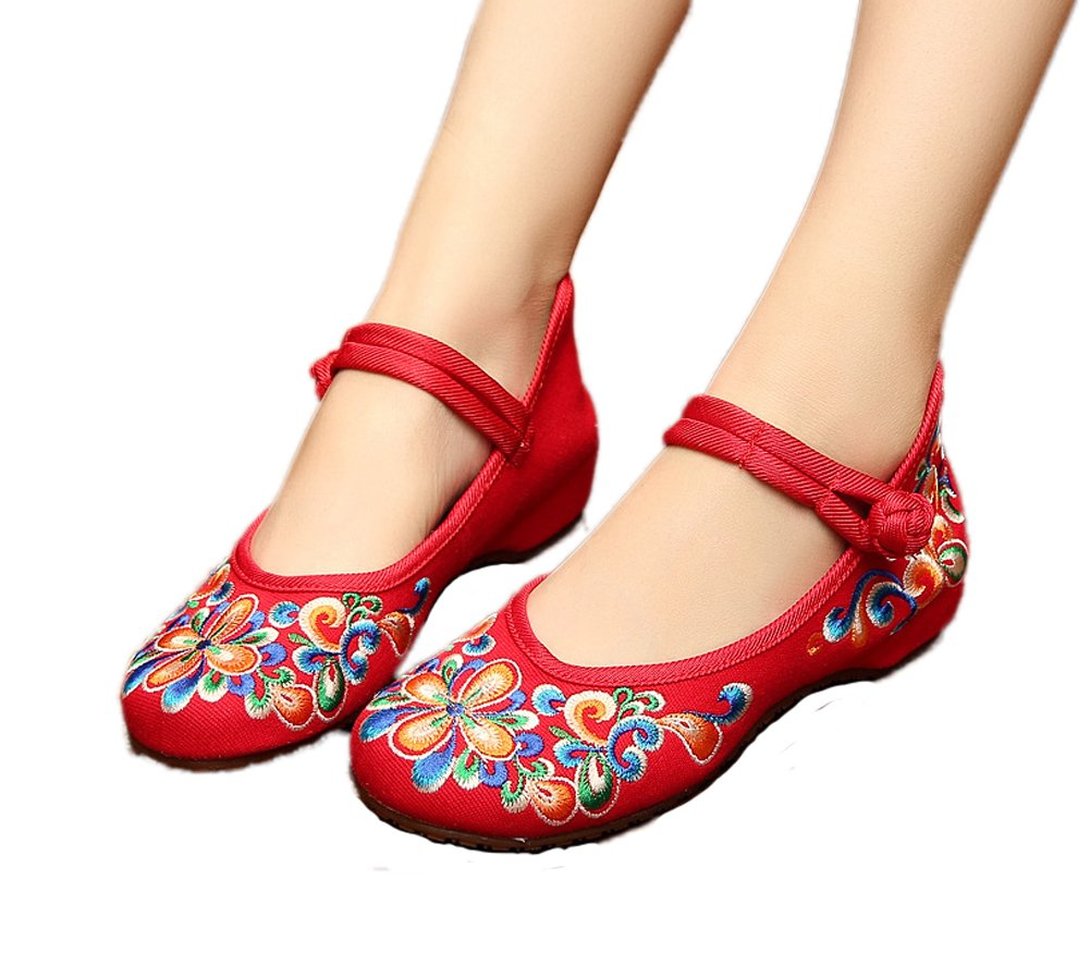AvaCostume Women's Chinese Embroidery Casual Mary Jane Travel Walking Shoes Red 39