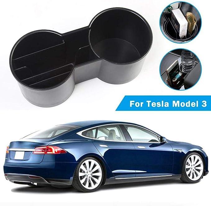 Volwco Tesla Model 3 Armlehnenhalter Box Aufbewahrungsbox Organizer Halter Mit Münzen Karten Schlüssel Slot Getränkehalter Einstecken Für Tesla Model 3 Küche Haushalt