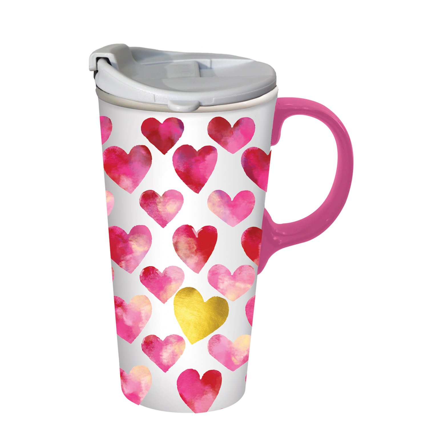 Cypress Home Hearts Full of Love Ceramic Travel Coffee Mug with Metallic Accents and Gift Box, 17 ounces