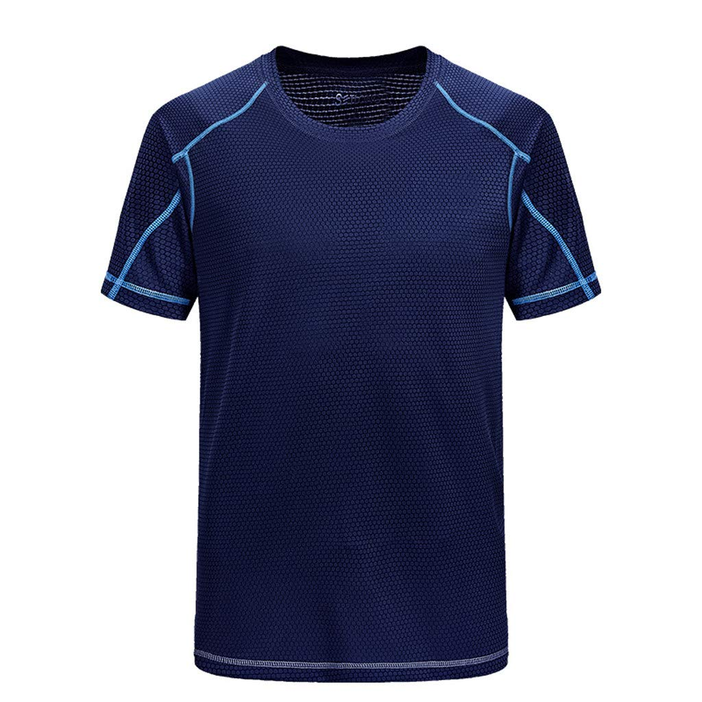 Kamao Simple Stylish Mens Summer Casual O-Neck T-Shirt Fitness Sport Fast Dry Breathable Top Blouse