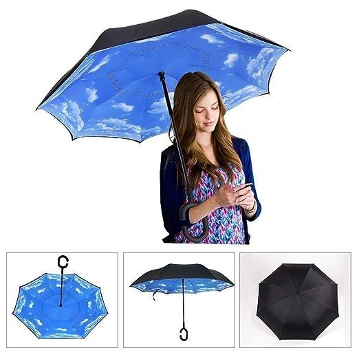 Amazon.com: Reverse paraguas de doble capa resistente al ...