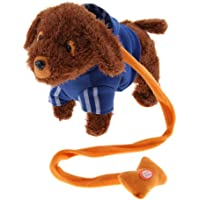 9.45 Inch Interactive Pet Toy Walking Barking Teddy Dog with Remote Control Leash - Blue, as described