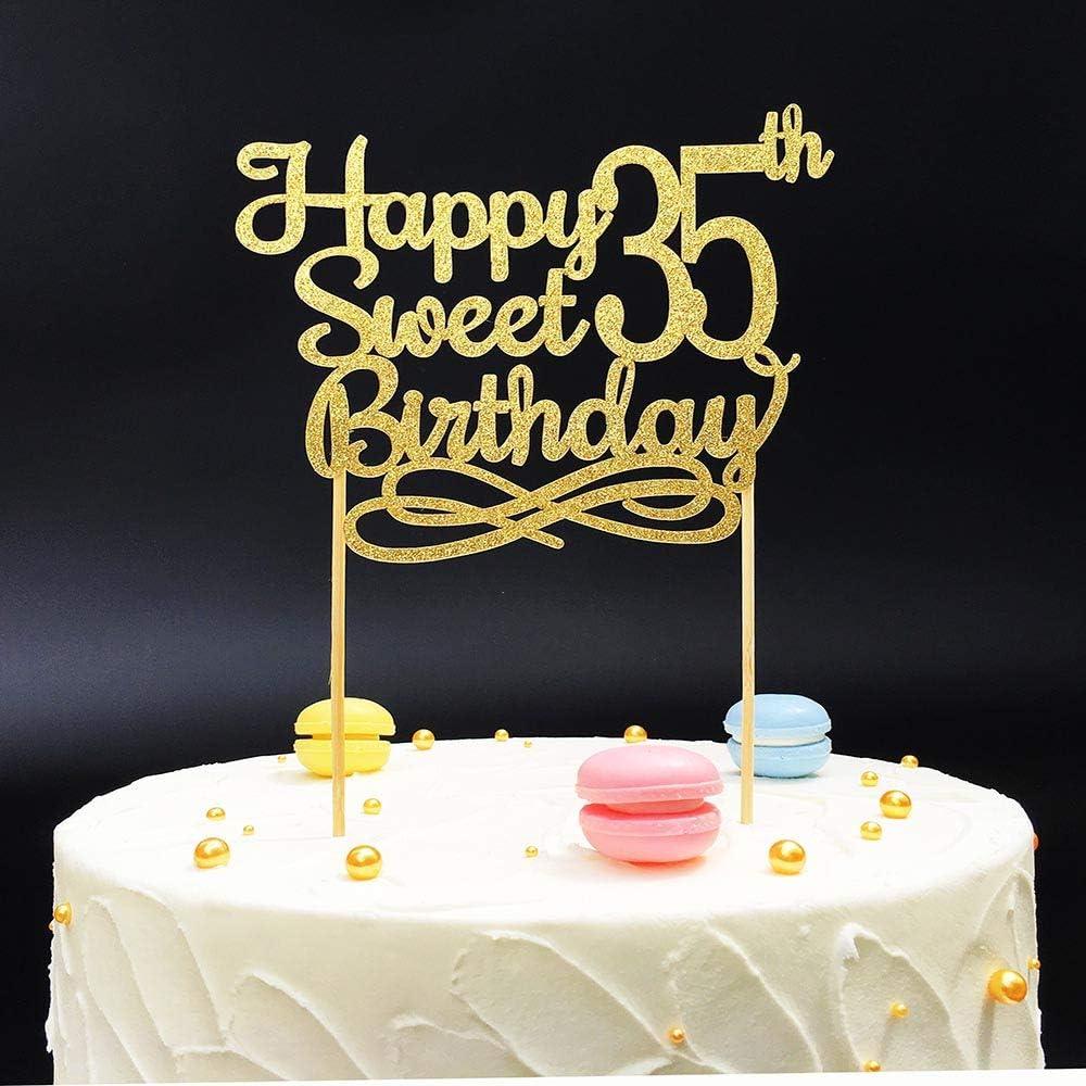 Excellent Gold Happy Sweet 35Th Birthday Cake Topper Gold Paper Cake Topper Funny Birthday Cards Online Hetedamsfinfo