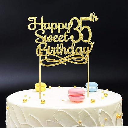 Enjoyable Gold Happy Sweet 35Th Birthday Cake Topper Gold Paper Cake Topper Personalised Birthday Cards Sponlily Jamesorg