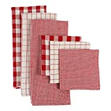 DII CAMZ10660 Cotton Woven Heavyweight Kitchen Dish Towels, Absorbent Washing Drying Dishtowels for Everyday Cooking and Baking 18 x 28 and Dishcloth 13 x 13, Holiday Checks, 6 Pack