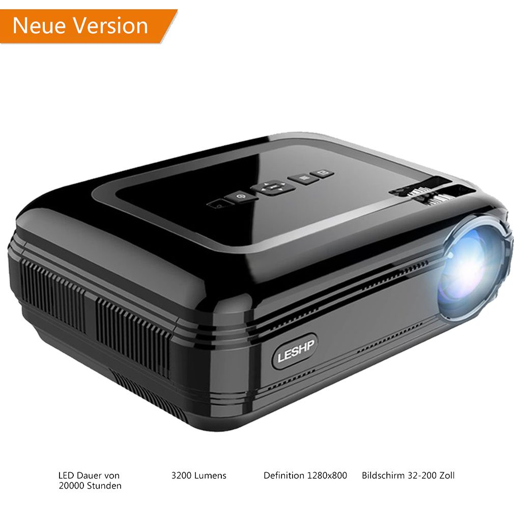 Proiettore LCD Full HD 1080P 1280 x 1920 Proiettore Multimediale Alta Risoluzione con Cavo HDMI e AV, Supporta TV/Smartphone/PC/Supporto 1080p/USB/VGA/SD/HDMI/TV/AV Nero iUcar