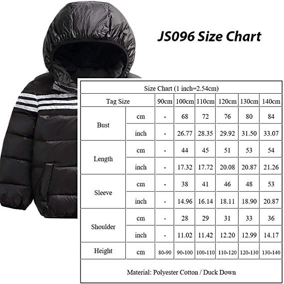 Kids Unisex Stylish Outwear High Shine Hooded Down Puffer Jacket Black