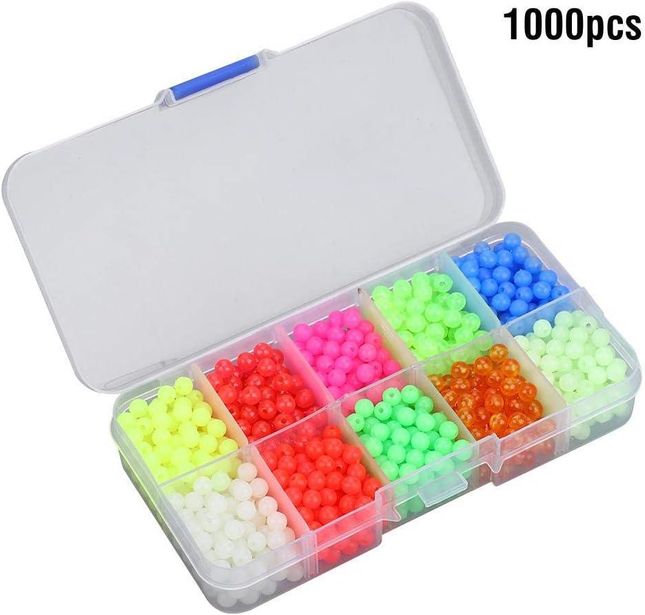 Tihebeyan 1000pcs app/âts artificiels de p/êche en Plastique Perles Rondes leurres de p/êche leurres Swimbait Bass leurres de p/êche en Plein air