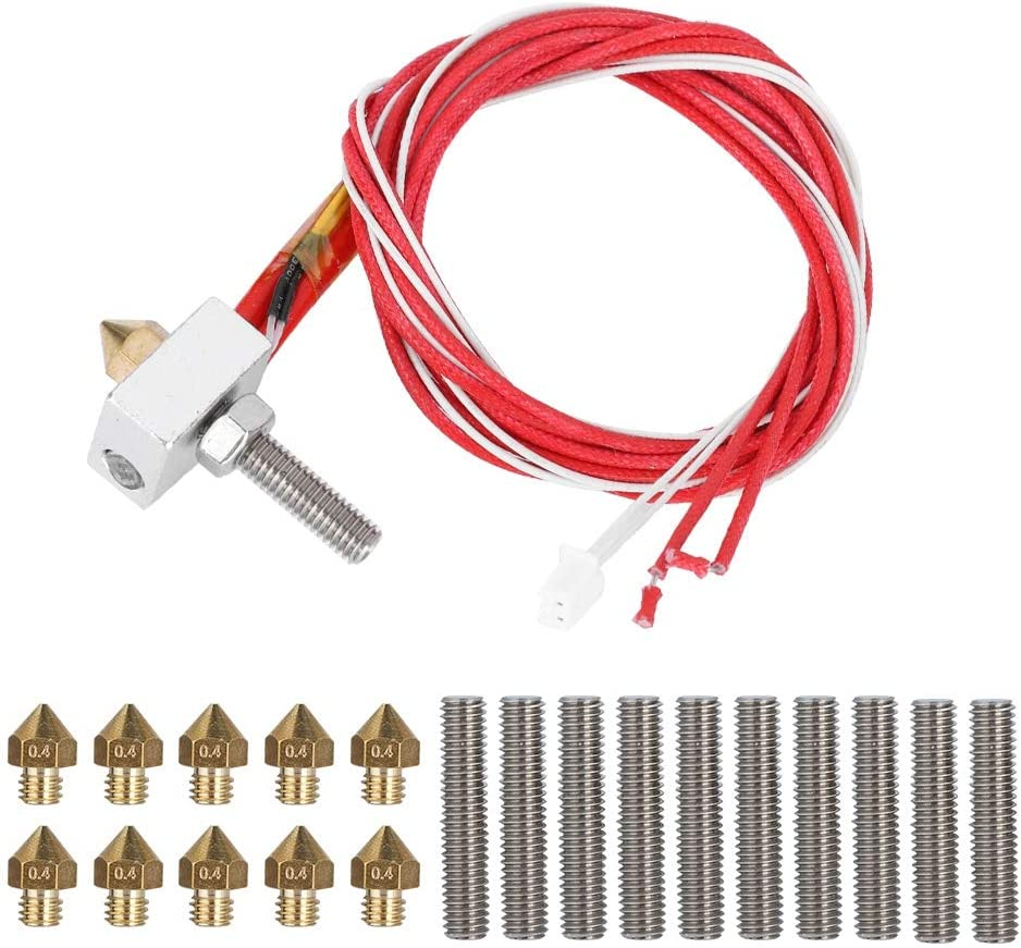for 1.75mm PLA ABS 3D printer 3D Printer Nozzle Hot End Kit CR7 3D Printer Extruder with Aluminum Heating Block 10pcs Line Pipe i3 V2 Alunar M508 30mm and 10pcs 0.4mm nozzle for MK8 Anet A8